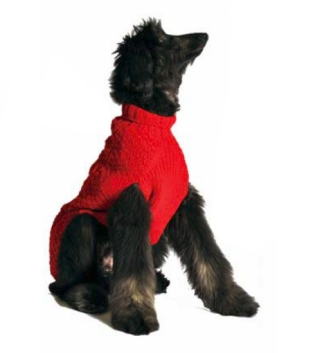 Chilly Dog Red Cable Dog Sweater, Large