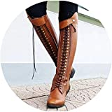 Fairy music Women Knee high Boots Vintage pu Leather lace up Riding Boots