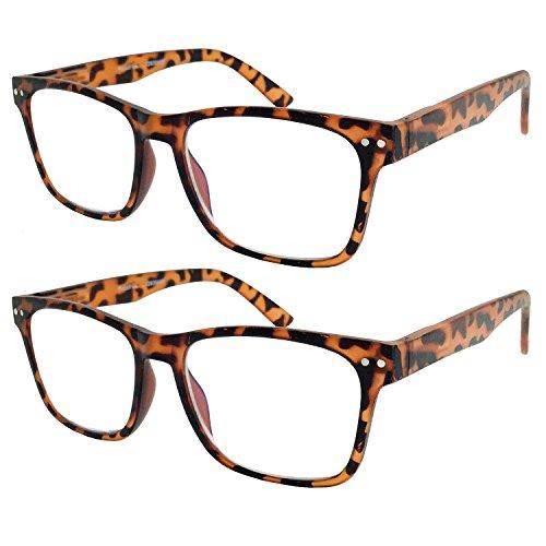 2 Pack Bulk Multi Focus 3 Power Progressive Reading Glasses - No Line (2 Pack Tortoise, 3.00)