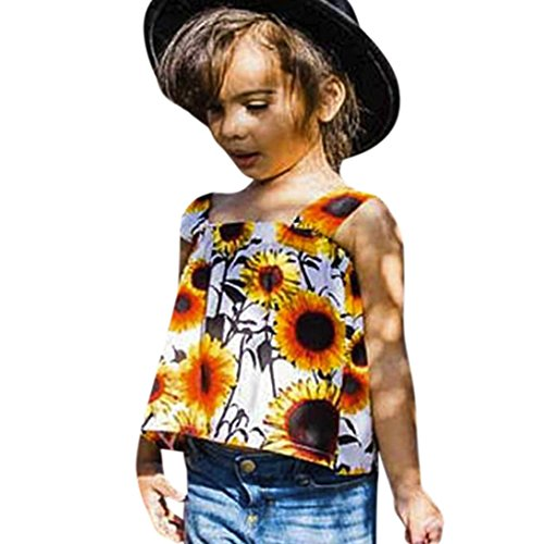 Moonker Baby Tops for 1-3 Years Old,2018 Mom&Me Toddler Baby Girls Summer Flower Tank Tops Vest T-Shirt (12-18 Months, Flower) -