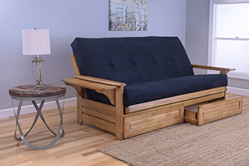 Oak Finish Wood Daybed - Phoenix Full Size Sofa Futon and Drawer Set, Butternut Wood Frame and Suede Innerspring Mattress, Black