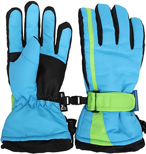 Simplicity Boys Youth Waterproof and Thinsulate Winter Ski Snow Gloves, Black/Blue Green-M(6-8Years) (Youth Skis)