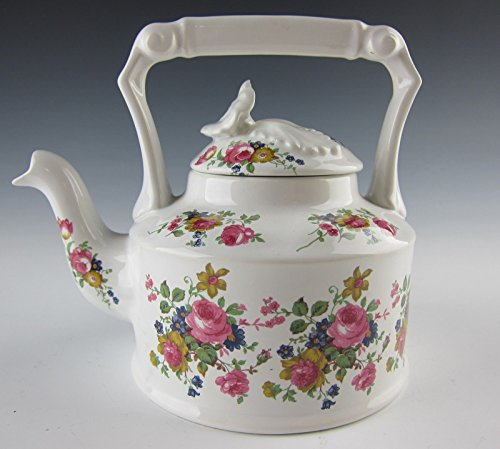 Arthur Wood China Teapot with Square Handle and Flower Bouquet Design