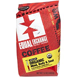 Equal Exchange, Coffee Mind Body & Soul Whole Bean Whole Trade Guarantee Organic, 12 Ounce 4 Equal Exchange Organic Coffee Mind, Body & Soul Packaged Whole Bean 12 oz. (a)