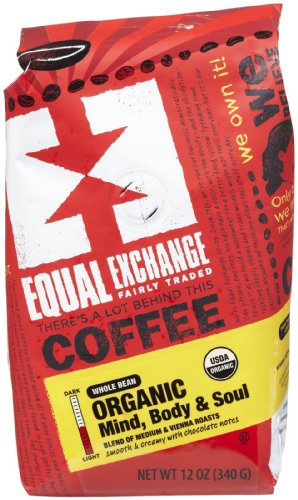 Equal Exchange, Coffee Mind Body & Soul Whole Bean Whole Trade Guarantee Organic, 12 Ounce 1 Equal Exchange Organic Coffee Mind, Body & Soul Packaged Whole Bean 12 oz. (a)