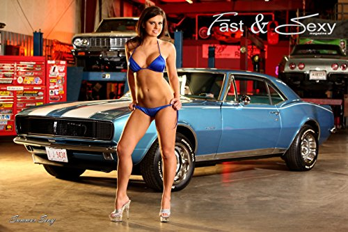 Fast & Sexy, Inc. Summer Seay with 1967 Chevy Camaro Poster (12x18 inches) (Poster Camaro)
