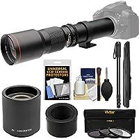 Vivitar 500mm f/8.0 Telephoto Lens with 2x Teleconverter (=1000mm) + Monopod + 3 Filters Kit for Nikon 1 J1, J2, J3, J4, S1, V1, V2, V3 Digital Camera