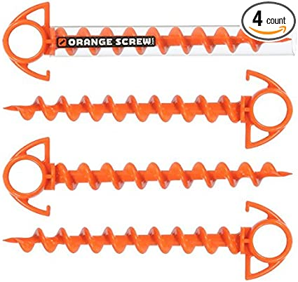 The Ultimate Ground AnchorSMALL 4 PackMade in the USA Orange Screw