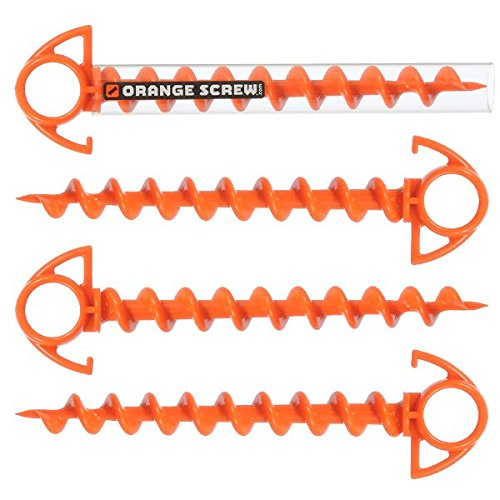 Orange Screw: The Ultimate Ground Anchor | Small 4 Pack | Made in The - Beach Stake