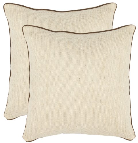 Safavieh Pillow Collection 18-Inch Pillow, Solid Wheat, Set of 2
