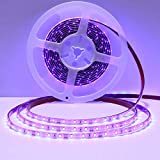 SOLMORE UV LED Blacklight Strip Light Fixture 16.4Ft/5M 2835SMD,Flexible Waterproof Purple Ultraviolet LED Strip Light String with 48W DC12V 5A Power Supply for Fishing Check Sterilization Light Party