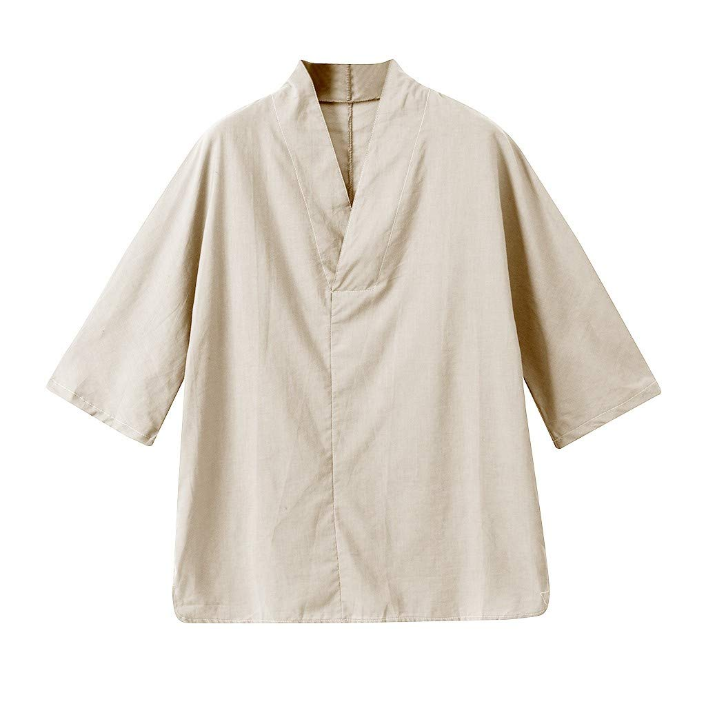 Men Linen Shirt Patchwork Seven Minute Sleeve Solid Loose V Neck Comfortable Classic T Shirt (M, Beige) by Pafei Men's shirts (Image #4)