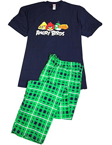 Angry Birds - Mens Big Short Sleeve Angry Birds Pajamas, Navy, Green 35869-XXXX-Large (Big Tall Bird)
