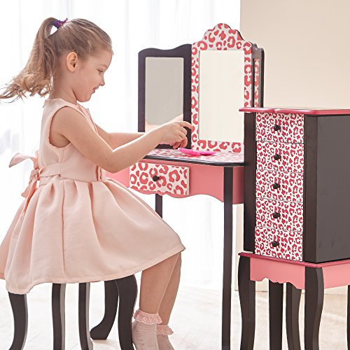 Teamson Kids - Fashion Prints Girls Vanity Table and Stool Set with Mirror - Leopard (Pink/ Black)