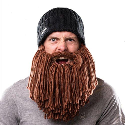 Short Brown Beard Costume (Beardo Viking Detachable Beard Hat, Short, Black Brown)
