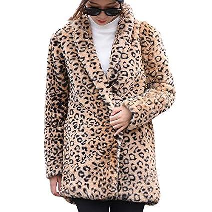 Linlink Mujeres de Invierno Leopardo de Manga Larga Cardigan Bolsillos Chaqueta Outwear Blusa Capa: Amazon.es: Ropa y accesorios