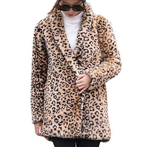 TOTOD Coat Women, Plus Size Womens Warm Leopard Print Faux Fur Coat Ladies Jacket Winter Parka Outerwear (Brown -1, M)