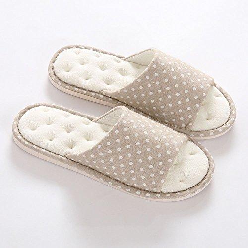 ZHIRONG Women 's Soft Bottom Cotton Linen Slippers Indoor Non - Slip Winter Comfortable Slippers ( Color : Blue , Size : 37/38(36-37) ) Beige