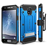 Evocel Explorer Series Pro Compatible with Galaxy J3 2018/ J3 V 3rd Gen/Express Prime 3/ J3 Achieve/ J3 Star/Amp Prime 3 Heavy Duty Protection Case w/Tempered Glass, Holster, Kickstand – Blue