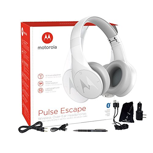 Motorola Pulse Escape Wireless Bluetooth 4.1 Stereo Headphone Headset with Mic - with Car/Wall Charger & MKK Stylus (US-Retail Packing)