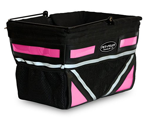 Travelin K9 2019 Pet-Pilot Original Dog Bike Basket Carrier | 10 Color Options for Your Bicycle (Neon Pink) ()