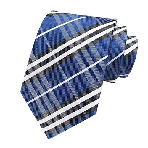 MENDENG New Classic Striped Blue White Jacquard Woven Ties Silk Mens Tie Necktie
