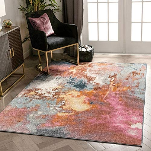 Well Woven Kosme Bohemian Vintage Multi Blue Pink Abstract Geometric Pattern Area Rug 5×7 5 3 x 7 3
