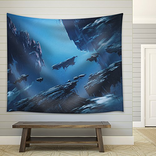 Fantasy Island Floating in The Sky Illustration Painting Fabric Wall