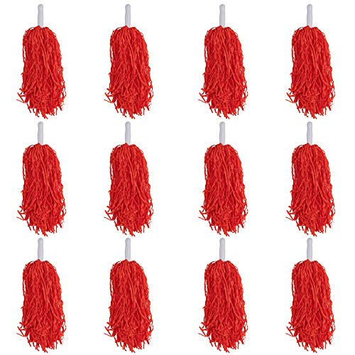 Cheerleading Pom Poms - 12 Pack Cheerleader Pom with Handles, Cheering Squads, for Party Costume, Holiday Celebration, Stage Performance Sports, Spirit Cheering, Dance, Red, 14 x 4.5 x 1 inches]()