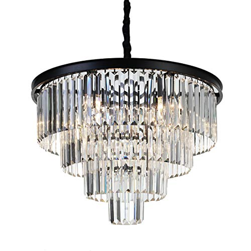 Black Crystal Pendant Nine Light Chandelier in US - 2