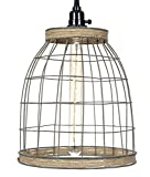 Primitive Wire Country Style 12″H Wire Basket Pendant Lamp with Jute Trim Review