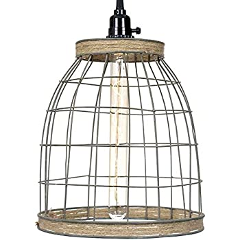 Primitive Wire Country Style 12 Quot H Wire Basket Pendant Lamp