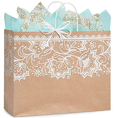 Lace Borders Paper Shopping Bags - Vogue Size - 16 x 6 x 13in. - 250 Pack by NW
