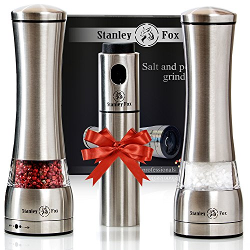 Old version Salt and Pepper Grinder Set of 3pcs - Oil Sprayer + Stainless Steel Salt Grinder and Pepper Mill- Salt and Pepper Shakers with Ceramic Rotor
