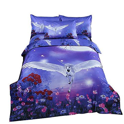 ZHH 3D Duvet Cover Sets Twin Size Animal Unicorn Flower Pattern Kids Bedding Set Ultra Soft Quilt Cover for Boys, Kids and Teens (1 Duvet Cover + 2 Pillowcases) (Twin, Unicorn Flower)