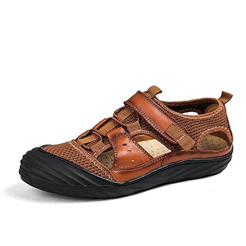 para para para Exterior Interior Deportes de Respirables de Pescador Sandalias Aptas Playa Brown de Antideslizantes y Sandalias Hombres Ocio de Verano Zapatillas Cuero 7xZ1wE