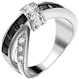 XAHH Women White Gold Plated Black Round Princess Cut CZ X Criss Cross Ring Eternity Promise Wedding Band 6