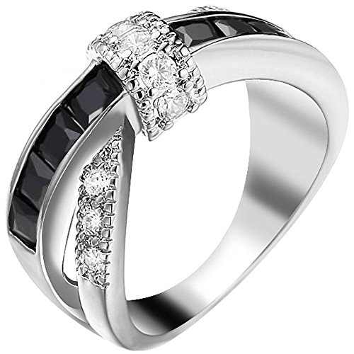 XAHH Women White Gold Plated Black Round Princess Cut CZ X Criss Cross Ring Eternity Promise Wedding Band 8
