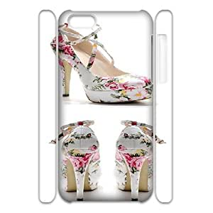 3D Doah High-heeled Shoes IPhone 5C Cases Floral Ankle Strap Stilettos, High-heeled Shoes [White]