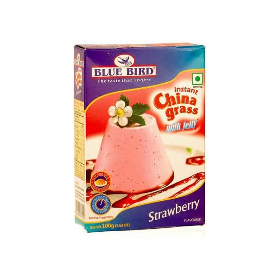 Bird In Blue Instant China Grass Milk Jelly Strawberry, 100 g (Pack of 3)
