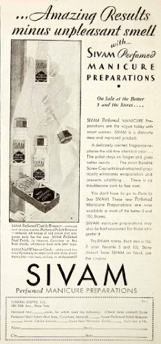 1931 Ad Sivam Perfumed Manicure Preparations General Aseptic 580 Fifth Ave NY - Original Print - Ny Fifth