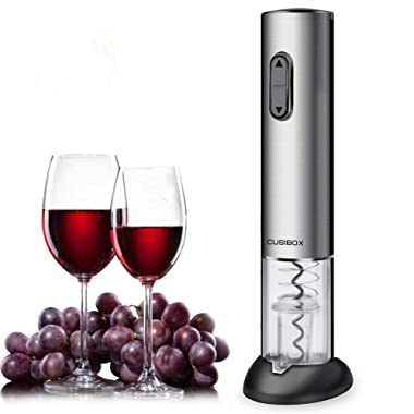 Electric Wine Opener, CUSIBOX Rechargeable Wine Bottle Opener with Foil Cutter, Charging Base and LED Light- Stainless Steel