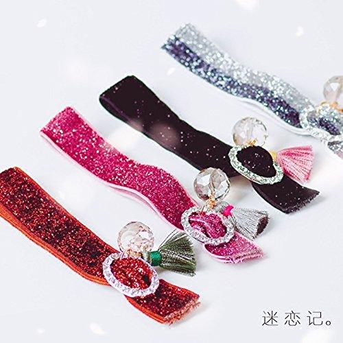 Rhinestone tassel beads onions velvet stretch knotted rubber band Korean hair ring hair rope hair ring Tousheng ball head for women girl lady