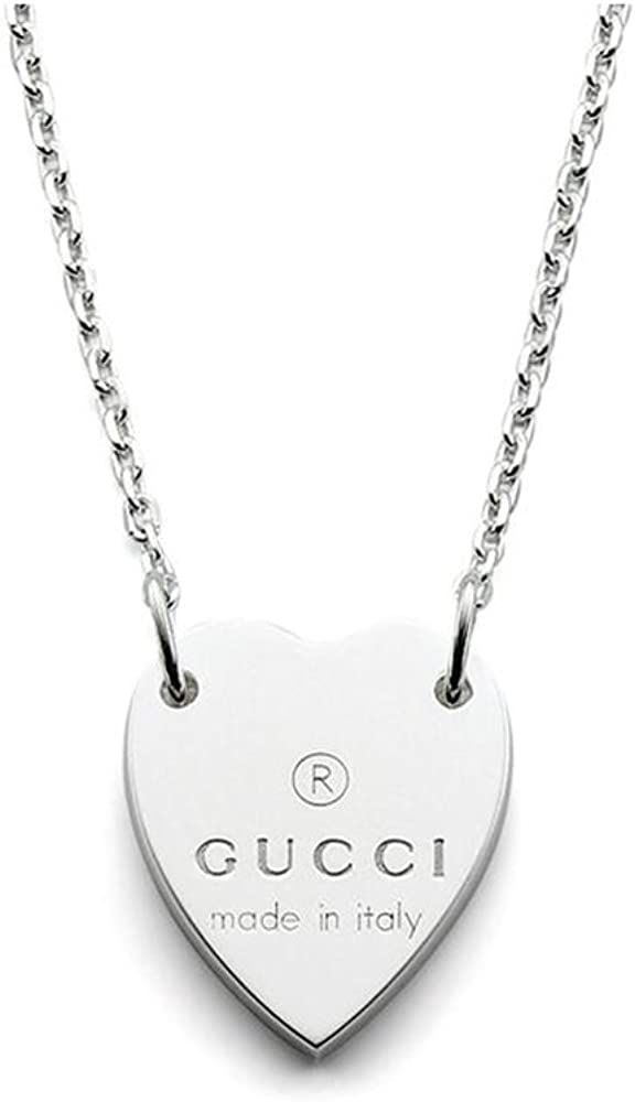 Gucci Trademark Heart Pendant in Sterling Silver Necklace YBB223512001