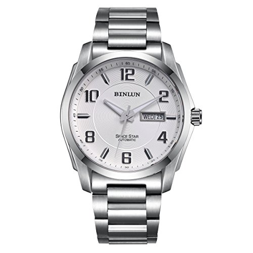 BINLUN Automatic Watches for Men Outdoor Silver Stainless Steel Waterproof Mechanical Watch with Day Date by BINLUN