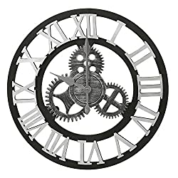Adeco Clock 3D Retro Rustic Vintage Wooden Gear Noiseless Wall Clock, Wooden Decoration Roman-Silver, 19 Inch