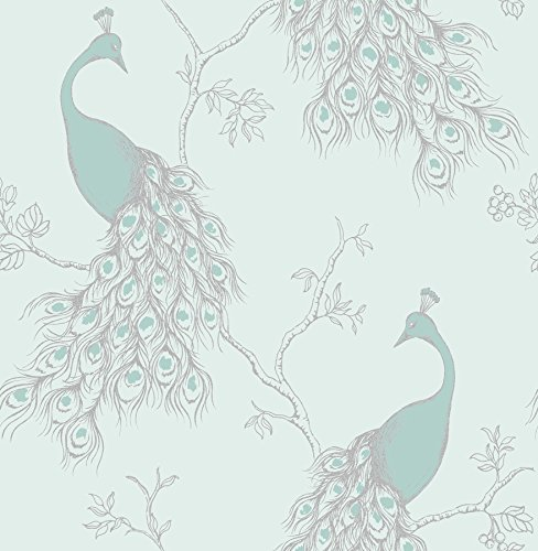 Fine Decor 2900-40713 Phasia Peacock Wallpaper, Seafoam