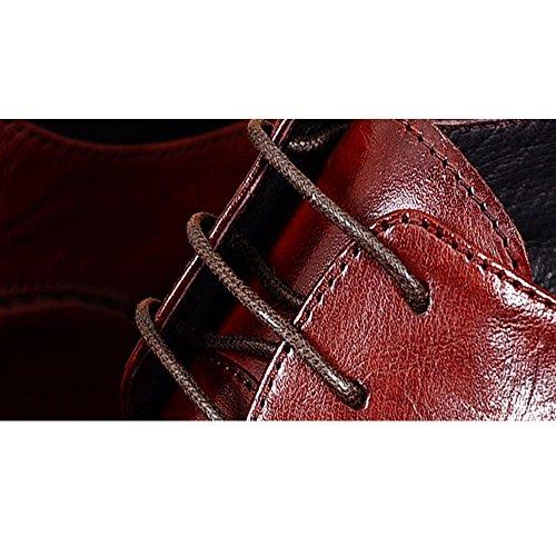 Fulinken Uomini In Vera Pelle Business Formale Abito Punta Punta Oxford Scarpe Stringate Borgogna