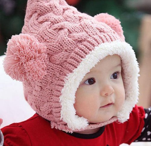 susen-1pcs-lovely-kid-baby-dual-balls-girl-boys-knitting-wool-keep-warm-beanie-cap-hat-pink