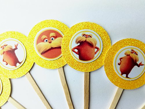 8 Lorax Cupcake Toppers Favors Girl Boy Birthday Party Favor Tags Bags Dr Seuss